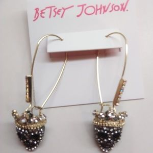 Betsey Johnson New Black Skull Earrings